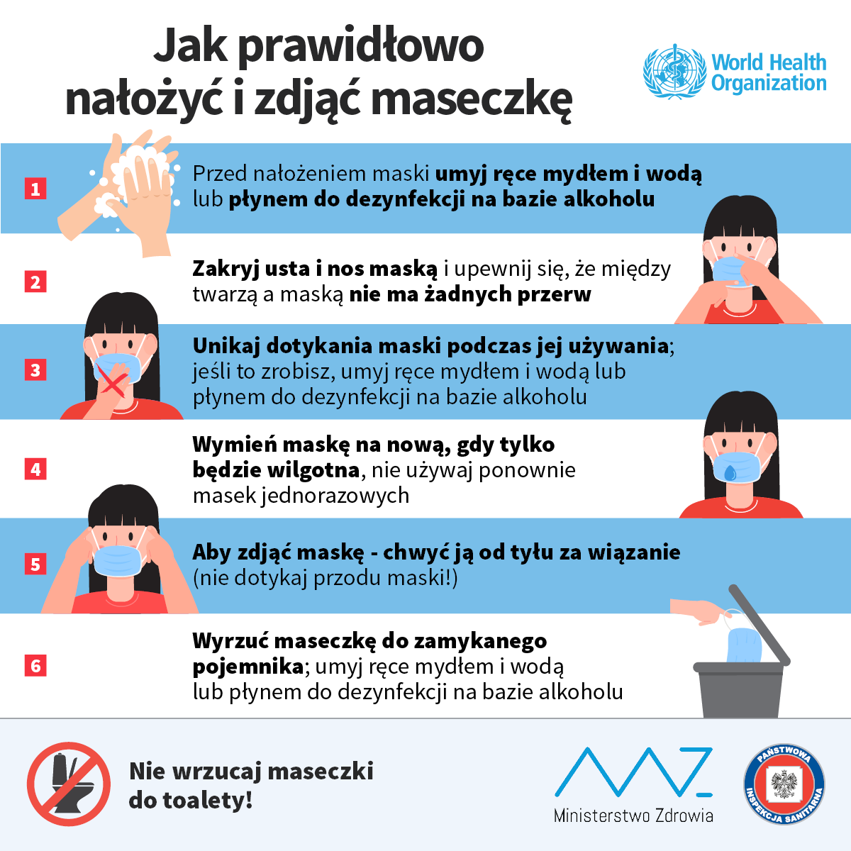 Instrukcja prawidłowego zakładania i ściągania maski ochronnej:
